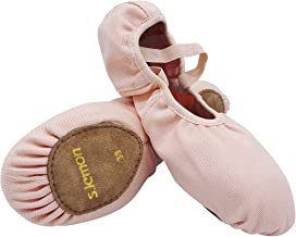 s.lemon Elasticated Pink Canvas Ballet Dance Shoes Slippers Split Sole for Kids Girls Women