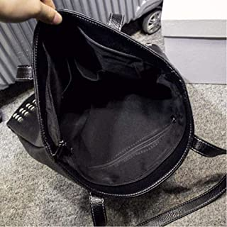 Women'S Pu Leather Female Handbag Autumn Bag Large Female Shoulder Bag Daily Retro Bag Causal Rivet Bag (Black)
