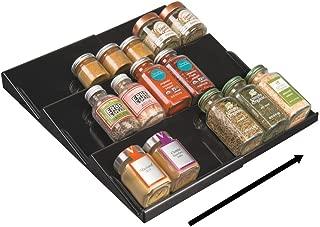 mDesign Adjustable, Expandable Plastic Spice Rack, Drawer Organizer for Kitchen Cabinet Drawers - 3 Slanted Tiers for Garlic, Salt, Pepper Spice Jars, Seasonings, Vitamins, Supplements - Black