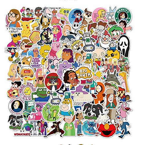 101 pcs Cartoon characters collection Graffiti Waterproof Skateboard Travel Suitcase Phone Laptop Luggage Stickers Cute Kids