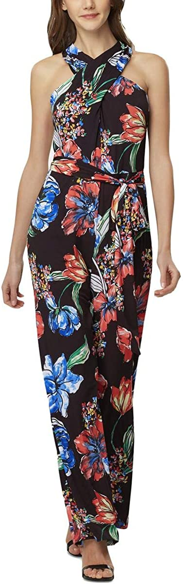 Tahari ASL Womens Max 59% Outstanding OFF Floral Neck Jumpsuit High
