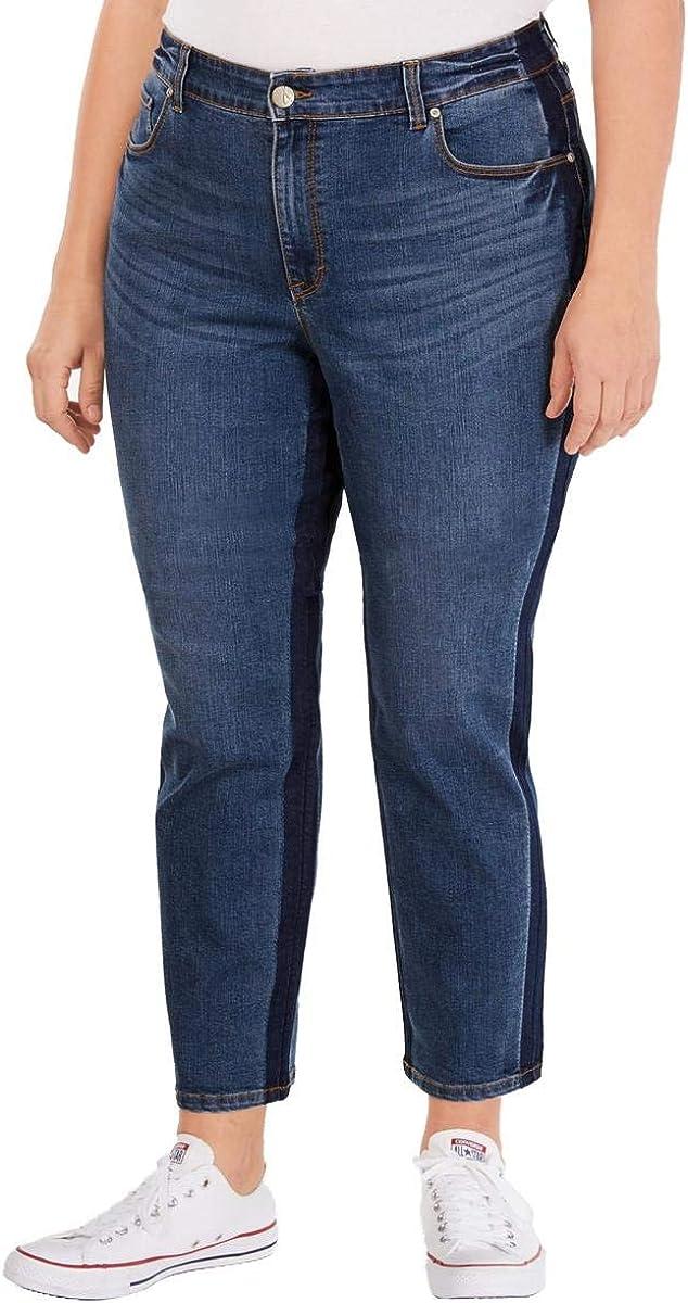 Style & Co. Womens Plus Kate High Rise Denim Slim Leg Jeans Blue