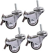 Sywlwxkq Zwenkwielen met remmen,Meubelwielen, M6/M8, Kleine transportwielen, Rubber wielen, Stil,360° rotatie,4 stuks,4 re...
