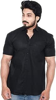 Twist Men's Solid Linen Half Sleeve Shirt