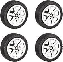 uxcell 30mm Rubber Toy Car Wheel Tires DIY Model Robots 4pcs, Silver and Black