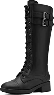 Women's Pu Knee High Riding Combat Boots