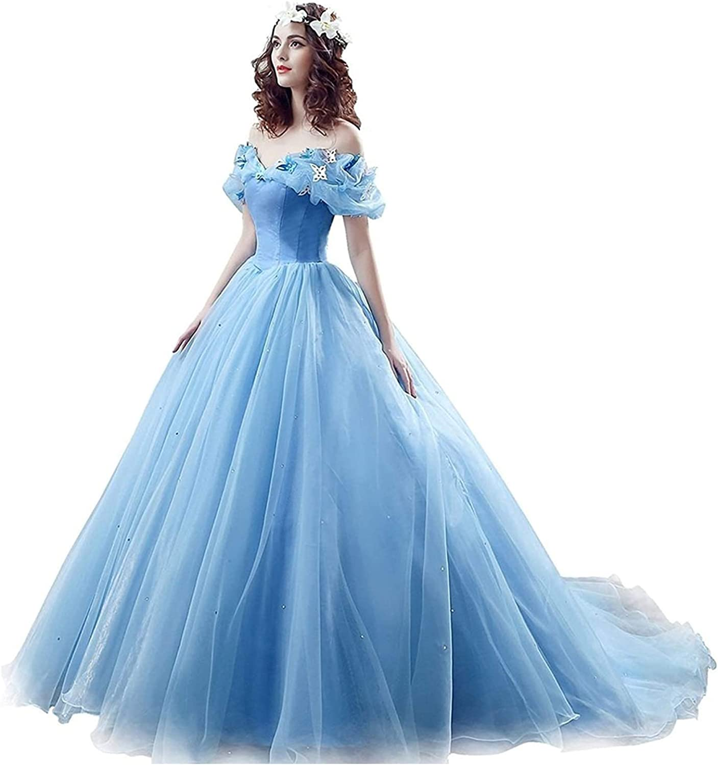 2021 Blue Ball Gown Prom Max 77% OFF Omaha Mall Dress New Cos Princess Movie Cinderella