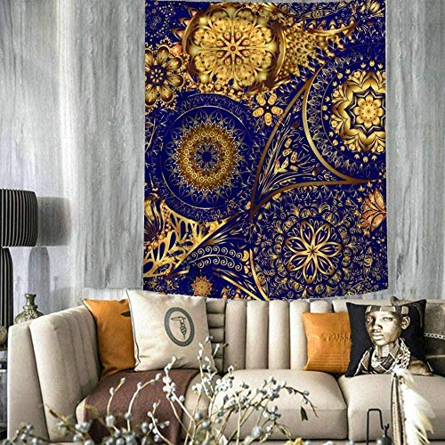 SHANHU Tapiz Tapiz étnico Indio Bohemio Tapiz Retro Mandala Azul Dorado Mandala Grande Rectangular Art Deco Sala de Estar Dormitorio-230cmx180cm