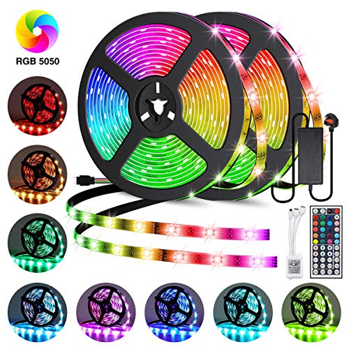 LED Strip Lights Kits,Elfeland Strips Lighting 10M 300LEDs RGB 5050 Color Changing IP65 Waterproof 12V Power Adapter 44 Key IR Remote Control LED Light Strip for Garden Bar Party Home Decorations 2x5m