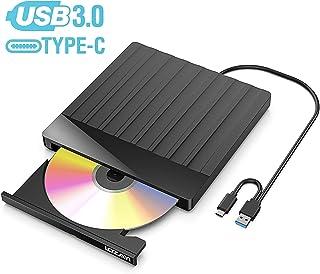 Unidad DVD, LOZAYI Lector CD/DVD USB 3.0 y Type-C, Ultra Slim Portátil Grabadora DVD, Disquetera Externa CD/DVD-RW Super Drive, Compatible con WIN98 /XP/7/8/10/XP/VISTA/Mac OS