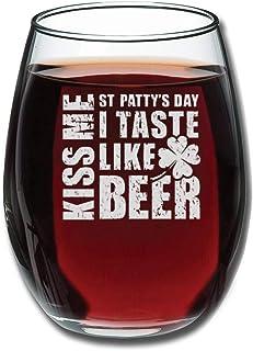 """Kiss Me I Taste Like Beer - Camiseta de tirantes para mujer, diseño de copa de vino grabada con texto en inglés """"Going Awa..."""
