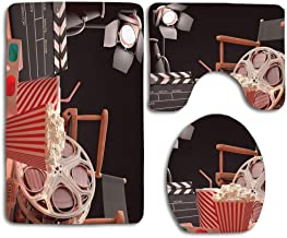 MEWSGK Printing Toilet Seat Cover Thick Flannel Nonslip Decorate Bathroom Carpet Movie Theater Objects of The Film Industry Hollywood Motion Picture Cinematography Concept