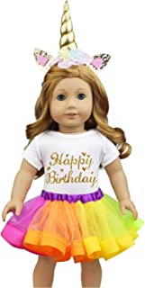 46cm Unicorn Doll Clothes Outfits for American 46cm Girl Doll with Jumpsuit, Rainbow Dress, Headband Birthday New Year Gif...