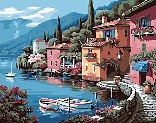 Fuumuui Lienzo de Bricolaje Regalo de Pintura al óleo para Adultos niños Pintura por número Kits Decoraciones para el hogar -Casa Rosada en Lakeside 16 * 20 Pulgadas