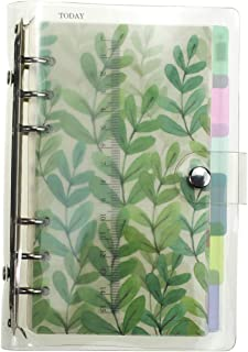 A6 6-Ring Loose Leaf Binder Journal from Chris.W, w/ 80 Insert Pages(Dot Grid/Square Grid/Ruled/Blank) + 6 Index Divider Tabs + 1 Clear Page Maker + 1 Ziplock Pouch Included, Refillable