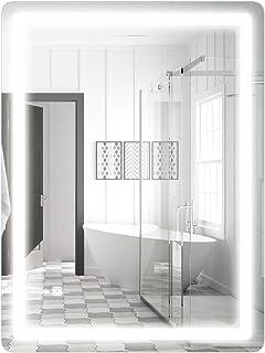 COSTWAY Espejo con Iluminación LED de Baño Espejo de Pared con Luz para Mauillaje Afeitado (80 x 60 cm)