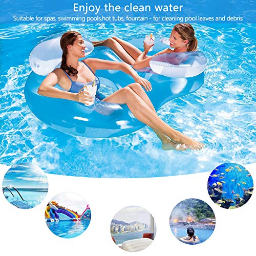 Pool Swimming Leaf Skimmer Net With Fine Mesh 3Pcs, Heavy Duty Hand Aluminium Telescopic Pole Pool Skimmer for Spas, Swimming Pool, Hot Tubs, Fountain, Fish Tank Ect for Cleaning Pool Leaves