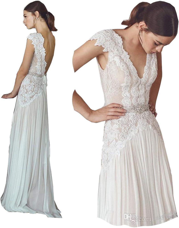 Fanciest Women's Bohemian Wedding Dresses Lace Wedding Dress V Neck Bridal Gowns White