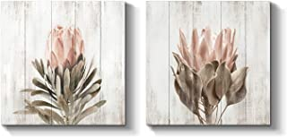 Floral Canvas Picture Wall Art: Protea Flower Artwork Painting on Canvas for Living Room (12'' x 12'' x 2 Panels)
