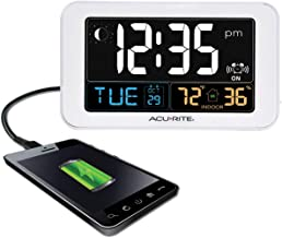 AcuRite Intelli-Time Alarm Clock with USB Charger, Indoor Temperature and Humidity..