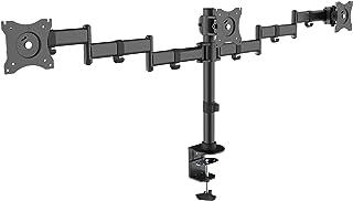 Kantek Height Adjustable Articulating Monitor Arm for Single Monitor, Black (MA210) Grommet Mount/Desk Clamp Triple Monitor Arm Black
