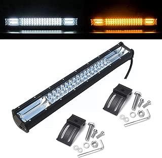 20 Inch Led Light Bar Led Flashing Warning Light Spot Flood Combo White & Amber Strobe Led Driving Lights for Off Road Trucks Boat SUV ATV 4WD CAR (288w-combo-amberwhite-1pcs)