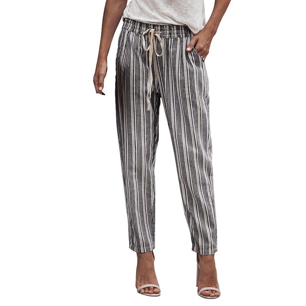 Clearance Sale! Women Pants,Farjing Women Striped Printed Drawstring Elastic Long Pants Stripped Pencil Trousers