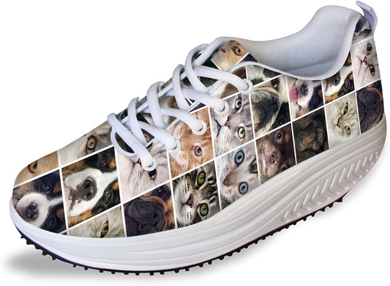 Showudesigns Animal Puzzle Print Slimming Platform Sneakers for Women Walking