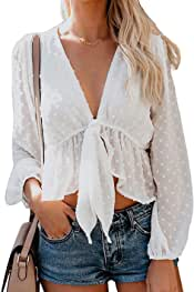 Women's Solid Open Front Tie Knot Crop Top Long Sleeve Deep V Neck Ruffle Chiffon Short Blouse Shirt White