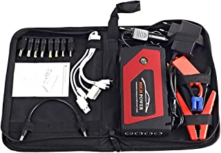 WSTJY Car Jump Starter, 600A Peak 18000mAh 12V Auto Battery Booster (up to 5.0L Gas, 3.0L Diesel Engine) Waterproof Power Pack with Smart Jumper Cables, 4 USB Port, and LED Light, Jump Bag