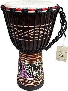 """مارک JIVE Djembe Drum Bongo Congo African Mahogany Wood طبل با سنگین پایه طبل بز بز پوست حرفه ای با کیفیت حرفه ای - 16 """"بالا - در چین ساخته نشده است"""