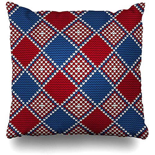 Niet van toepassing Kussenslopen, Garen Blauw Baltische Oma Patroon Lelijke Trui Abstract Vintage Rood Canvas Kerstmis Craft Zachte Comfortabele Kussenslopen 45x45cm