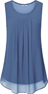 Timeson Women's Sleeveless Chiffon Tank Top Double Layers Casual Blouse Tunic