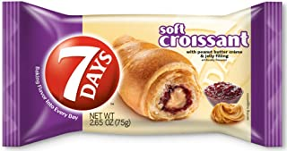 7Days Soft Croissant, PB&J (Pack of 24) | GMO-Free Peanut Butter & Jelly Snack