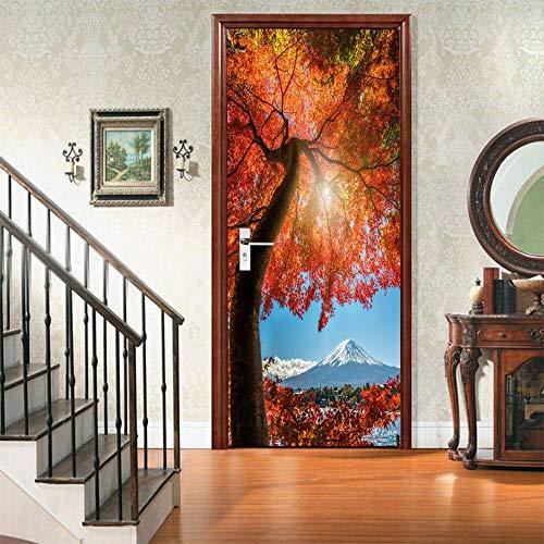 A/X Autoadhesivo 3D Pegatina para Puerta Hojas de Arce árbol Japón Nieve montaña impresión Arte decoración del hogar PVC póster Impermeable Imagen de Papel Tapiz