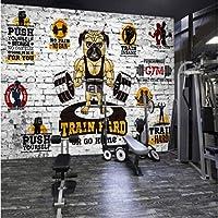 Iusasdz レンガの壁紙パーソナリティクリエイティブジムボディービル漫画犬3D壁画の壁の壁紙-150X120Cm