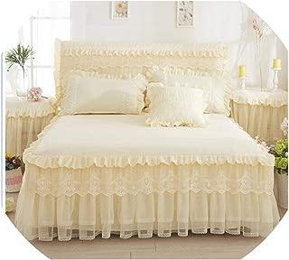 Lace Cotton Princess Bed Skirt Twin Full Queen King Size Bedsheet Bed Cover Bed Linen Pillowcases Couverture De Lit,Light Yellow,150X200Cm 5Pcs
