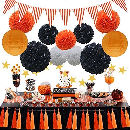Halloween Party Decorations Supplies Kit, Paper Lanterns, Tassels Hanging Garland Banner, Tissue Pom Poms Flowers, Triangle Flag Bunting for Baby Showers Bridal Birthday Wedding (Orange, Black, White)