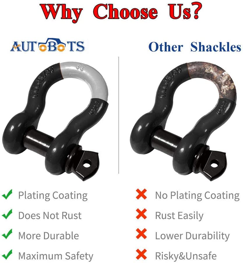 2 Black Isolator and 4 Washers Kit for Off-Road Jeep Vehicle Recovery 41,887Ib Break Strength with 7//8 Pin AUTOBOTS Bow Shackle 3//4 D-Ring Red Shackle 2 Pack