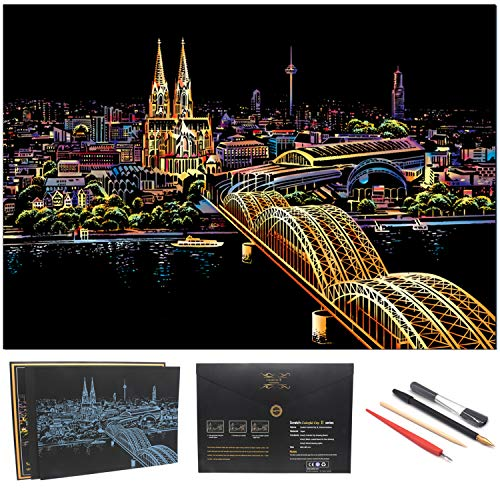 Rainbow Scratch Painting Paper By BOTEEN,City Series Night Scene,Scratch Painting Creative Gift,Scratchboard for Adult and Kids,Size 11'''x16'' with 4 Tools