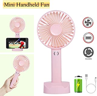 Battery Handheld Fan, Portable Battery Operated Fan : Rechargeable & Adjustable 3 Speeds Mini Personal Electric USB Fan with Desk Stand for Home/Office/Travel/Outdoor (Pink)