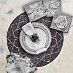 Decozen-Embroidered-Beaded-Lurex-Placemat-14-Round-Square-Set-of-2-Handmade-wBeads-Heat-Resistant-Scratchproof-and-Easy-to-Care-Daily-Table-Mats-Kitchen-Dcor-Smoke-Placemats