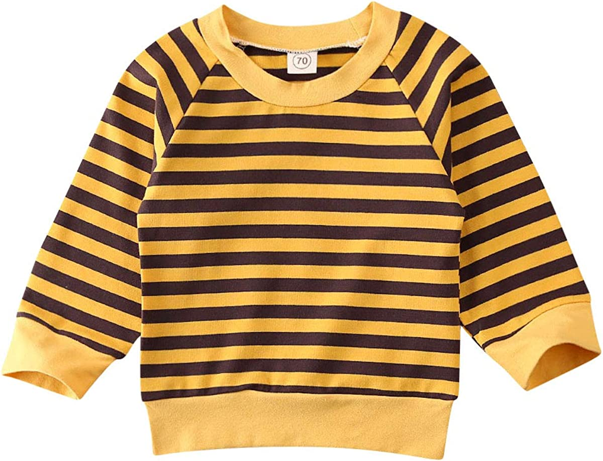 Argorgeous Baby Girls Boys Shirt Long Sleeve Striped Tops Cotton Thermal Underwear Kids Clothes Outfits