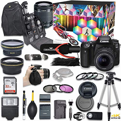 Canon eos 90d dslr camera deluxe video kit with canon ef-s 18-55mm f/3. 5-5. 6 is stm lens + commander pro microphone + sandisk 32gb sd memory card + accessory bundle