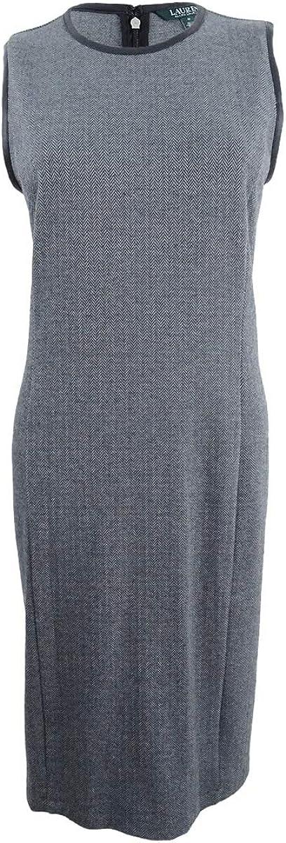 Lauren by Ralph Lauren Women's Herringbone Faux Leather Trim Dress (M, Multi)