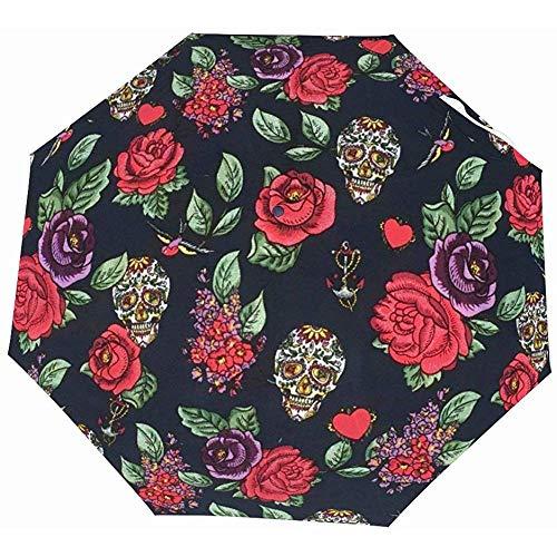 EW-OL-Automatic tri-fold umbrella Lustige automatische geöffnete Golf-Regenschirme - kompakter Leichter Reise-Regenschirm - Zuckerschädel-Rosen-Liebes-Herzen