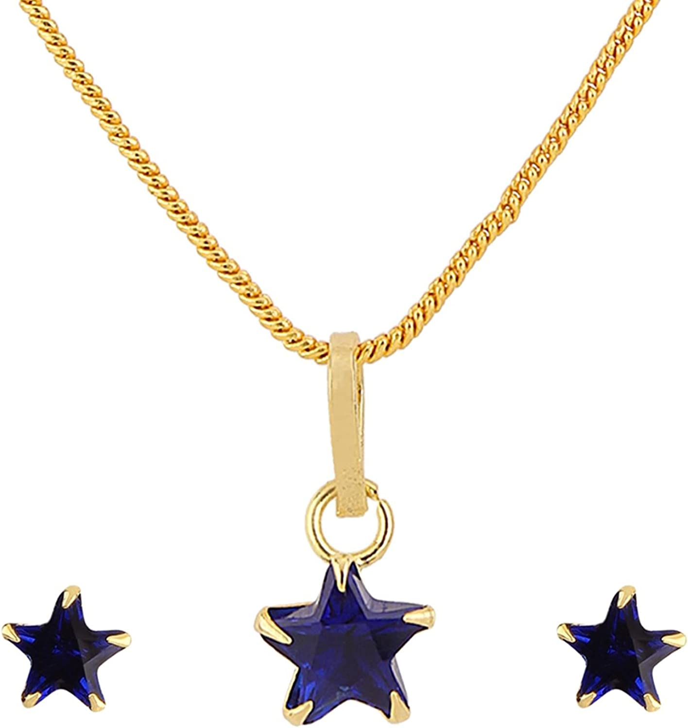 Efulgenz 14K Gold Plated Blue Star Cubic Zirconia Pendant Necklace and Earrings Jewelry Set for Women Girls Brides Bridesmaids
