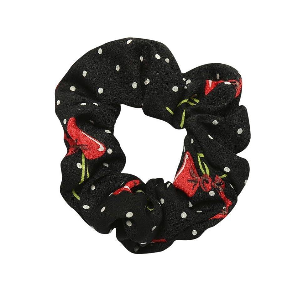 Boho Printing Chiffon Flower Hair Scrunchies Hair Bow Chiffon Ponytail Holder,Hair Bow Hair Bands Headband Elastics Holder for Women Girls Hair Clips Accessories for Women's (Black)