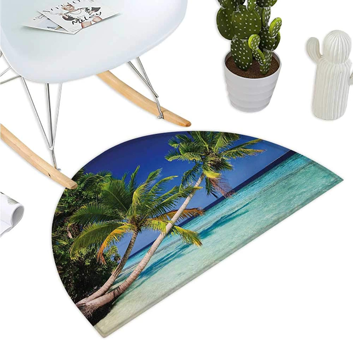 Landscape Semicircle Doormat Tropic Botanic Sandy Beach Island with Coconut Palm Trees Seaside Print Halfmoon doormats H 39.3  xD 59  Aqua bluee Green