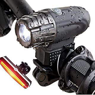 Bike Light Set,with Red Flash Taillight USB Rechargeable Led Bicycle Lamp Set, for Bicycles with a Handlebar Diameter of 2...